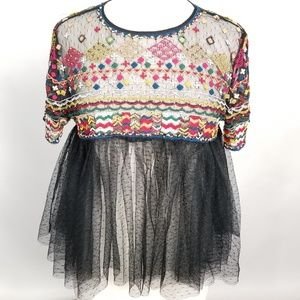 Zara Trafaluc Large Embroidered Beaded Tulle Top